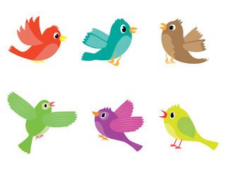 Vector set of various colored cartoon birds