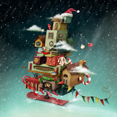 Holiday greeting card or poster with  hurtling Christmas fantasy house with gifts.