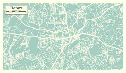 Harare Zimbabwe City Map in Retro Style. Outline Map.