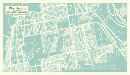 Khartoum Sudan City Map in Retro Style. Outline Map.