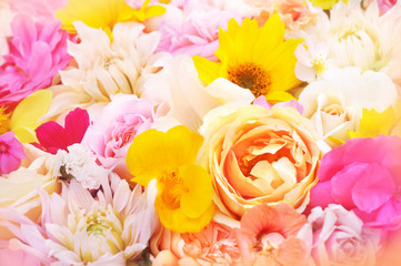 Summer blooming flowers festive background, btight pink bouquet floral card, selective focus
