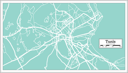 Tunis Tunisia City Map in Retro Style. Outline Map.