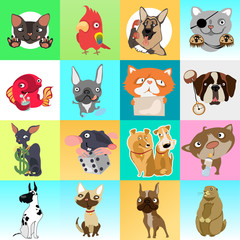 Cute poster or greeting card with modern design on theme of funny Pets. Ornate set of cats, dogs, mouse, hamster, fish and parrot. Sketch for stickers, card, seamless texture. Vector cartoon close-up.