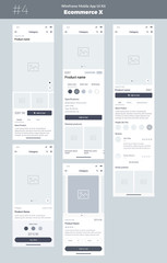 Wireframe kit for mobile phone. Mobile App UI, UX design. New OS Ecommerce Product. Category, Name of product, size, color, prices, details and comments screens. Choose and buy a product.