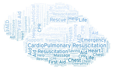 CardioPulmonary Resuscitation word cloud, made with text only.