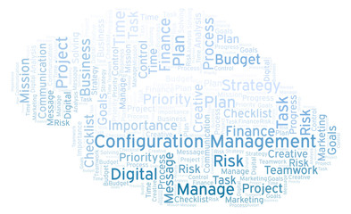 Configuration Management word cloud, made with text only.