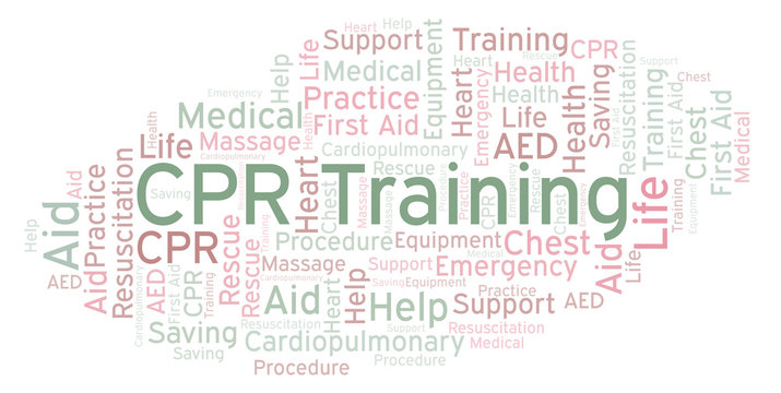 CPR Training word cloud, made with text only.