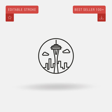 Outline Space Needle icon isolated on grey background. Line pictogram. Premium symbol for website design, mobile application, logo, ui. Editable stroke. Vector illustration. Eps10