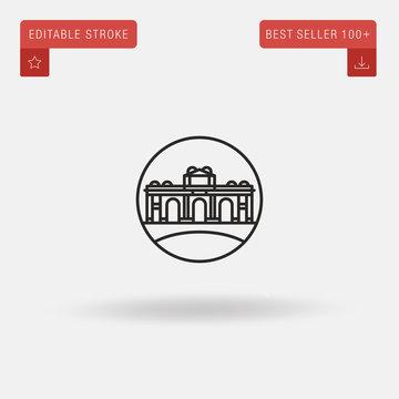 Outline Alcala Gate icon isolated on grey background. Line pictogram. Premium symbol for website design, mobile application, logo, ui. Editable stroke. Vector illustration. Eps10