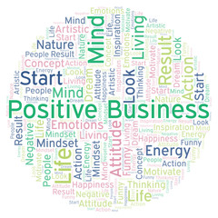 Positive Business word cloud, made with text only.