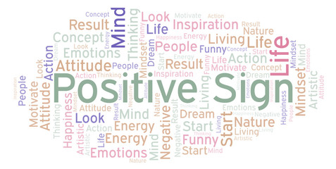 Positive Sign word cloud, made with text only.