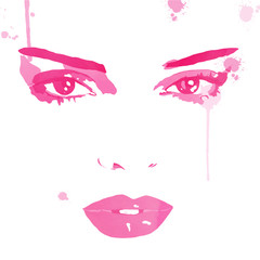 Face close up vector. Putting on make up. Watercolor fashion illustration.