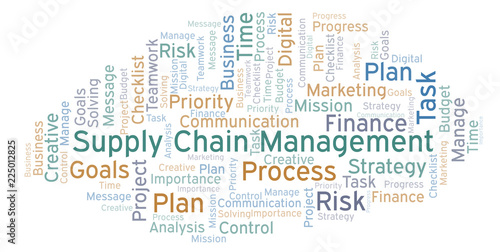 Supply Chain Management word cloud, made with text only