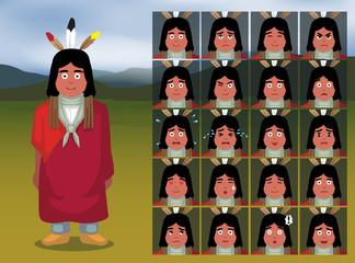 Native American Sioux Cartoon Emotion faces Vector Illustration