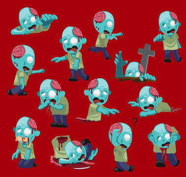 Cute Zombie Cartoon Red Background Vector Illustration