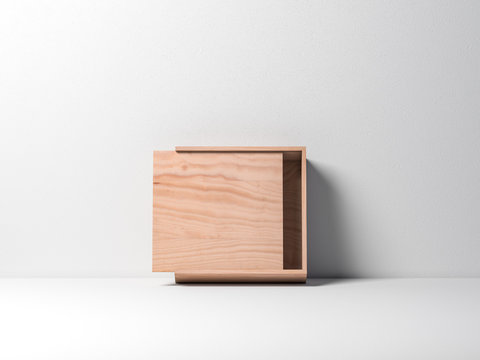 Open Wooden plywood box Mockup against white wall