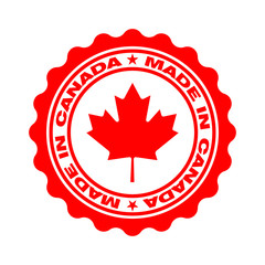 Stamp with text made in Canada. Logo canadian quality. Seal  maple leaf in circle. Icon premium quality. Label made in Canada. Vector illustration