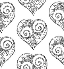 Vector illustration of seamless pattern from hand drawing black heart with snail couple in love on white background. Coloring page book for Valentine day