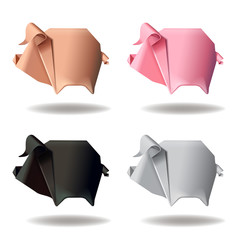 Origami paper pig group set decor vector illustration