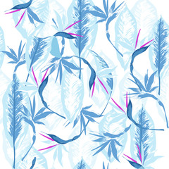 Blue vector seamless beautiful artistic bright tropical pattern with exotic forest. Colorful original stylish floral background print, bright colors on white