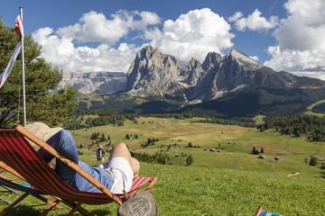 Wandern auf der Seiser Alm in den Dolomiten