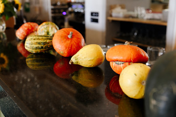 multicolored pumpkins in a number