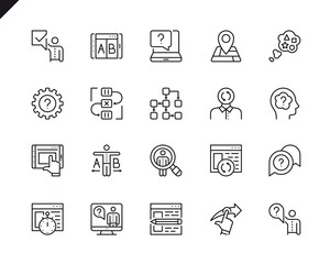 Simple Set of UX Related Vector Line Icons. Linear Pictogram Pack. Editable Stroke. 48x48 Pixel Perfect Icons.