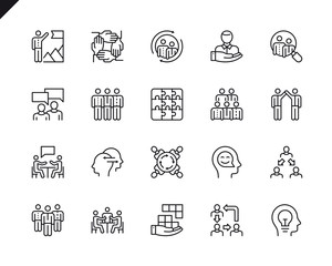 Simple Set of Teamwork Related Vector Line Icons. Linear Pictogram Pack. Editable Stroke. 48x48 Pixel Perfect Icons.