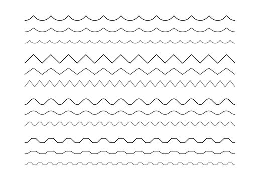 Set of wavy and zigzag horizontal lines