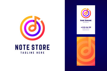 Vector logo in modern gradient style for music festivals, dj and
