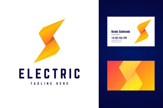 Electric logo and business card template. Lightning sign in mode