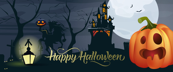 Happy Halloween lettering with pumpkin, moon and castle. Invitation or advertising design. Handwritten text, calligraphy. For leaflets, brochures, invitations, posters or banners.