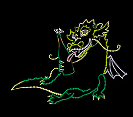 Dragon with a bottle of champagne