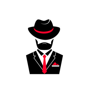 Bearded man in a hat and in a jacket with a tie. Gentleman logo in mafia style for male store, a barber shop.
