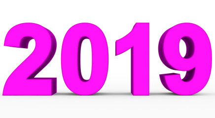 year 2019 purple 3d numbers isolated on white