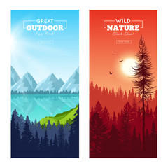Realistic Pine Forest Vertical Banners