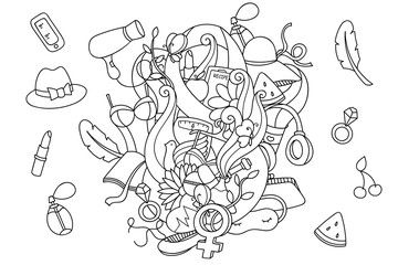 Doodle pattern with women's health items and lifestyle objects. Cartoon female accessories for coloring. Easy to change colors, vector art.