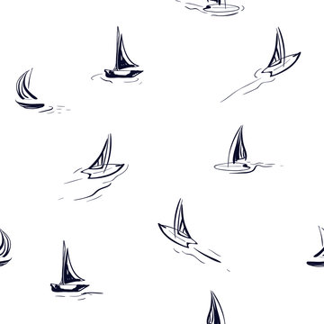 Hand drawing wind surf seamless pattern in vector. Flat style illustration. Summer beach surfing illustration in the ocean on white background.