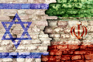 Iran and israelflags and rocket in military conflict