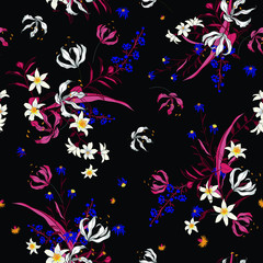 Vector of dark soft blooming floral pattern, delicate flowers, yellow, blue and pink flowers, greeting card template on black background.
