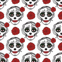Catrina woman with make up of sugar skull. Seamless pattern. Dia de los muertos. Mexican Day of the dead. Vector illustration hand drawing