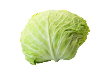 Green cabbage isolated on white background, clipping path included