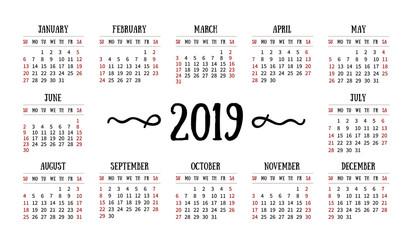 Vector calendar grid for 2019 on white background.