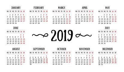 Vector calendar grid for 2019 on white background