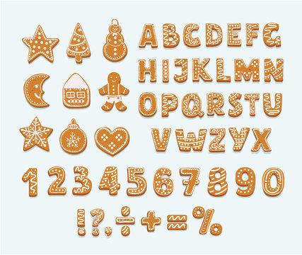 Gingerbread cookies alphabet, arabic numbers, sign
