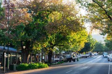 High Street in Yackandandah, a small tourist town in the Victorian high country.