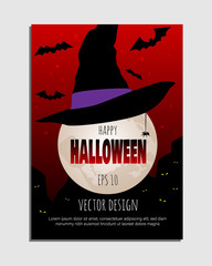 Halloween design with moon,witch hat, bats. Horror poster, vector design.