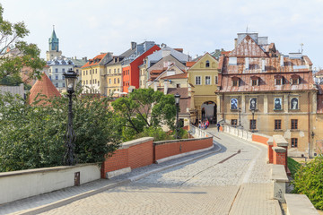 Lublin,  Zamkowa street - view towards Grodzka  Gate, Grodzka Street and tenement houses of old town.