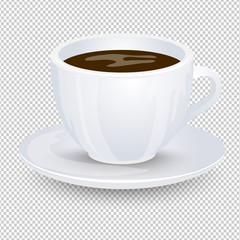 Classic black coffee in a white cup with a saucer isolated on a transparent background. Favorite morning drink. Vector illustration.