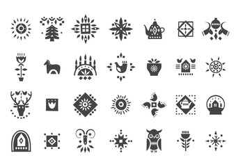 Vector set of black Christmas icons in scandinavian style.